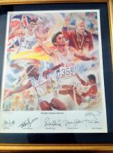 British Golden Heroes 23x 18 colour signed print no 5/500 showing a montage of the gold medallists