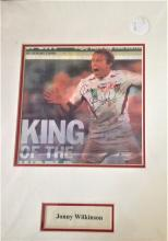 Jonny Wilkinson Rugby union 16x12 signature piece mounted Sunday Times front page signed showing