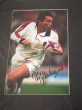 Rugby union 14x11 signed colour photo framed Rory Underwood in action for England. Rory Underwood