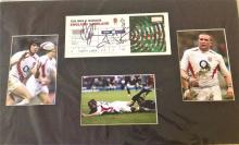 Rugby Union 2003 signed presentation. 20x12 mounted including RBS six nations ticket England v
