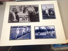 Roger Bannister 22x18 signature piece 4 b/w photos mounted showing various achievements including