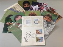 International Cricket collection 12 assorted signed colour photos and Danny Briggs FDC Isle of man