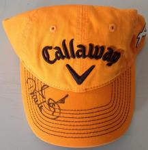 Ian Poulter orange Callaway signed by pen golf cap. English professional golfer who is a member of