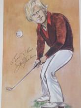 Jack Nicklaus 14x8 signed colour Tim Holder caricature print signed by pen. Retired American