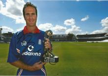 Michael Vaughan 10x8 signed colour photo. former English cricketer, who played all forms of the game