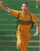 Shaun Tait 10x8 signed colour photo. Former Australian cricketer, who has retired from all three