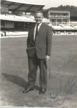 Alec Bedser 5x3 signed b/w photo. English cricketer, primarily a medium-fast bowler. He is widely