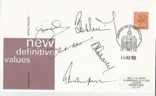 Cricket multisigned Simon Hughes, David Gower, Phil Tufnell, Bob Willis and David Graveney signed
