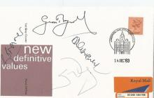 Geoff Boycott, Rory Bremner, David Graveney and Steve Waugh signed new definitive values fdc.14/12/