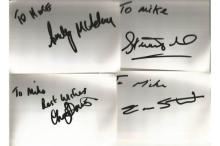 Rugby signed 6x4 white index card collection. 50+ cards. Dedicated to Mike/Michael. Some of