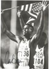 Carl Lewis 10x8 signed b/w photo. American former track and field athlete who won nine Olympic