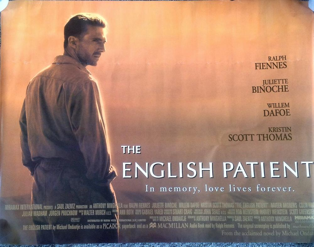 Sold Price: The English Patient 40x30 movie poster from the 1996 epic  romantic war drama film starring Ralph - June 3, 0120 6:00 PM BST