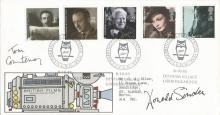 Donald Sinden & Tom Courtney signed 1985 Films FDC with scarce Charrington Presidential Year postmark. Neat typed address.  Good condition. All signed items come with a Certificate of Authenticity and can be shipped worldwide.