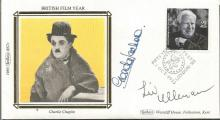 Glenda Jackson & Liv Ullmann signed Benham 1985 small silk FDC with Charles Chaplin stamp and illustration.  Good condition. All signed items come with a Certificate of Authenticity and can be shipped worldwide.