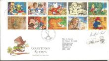Michael Bond and Peter Firmin signed 1994 Greetings FDC with neat typed address.  Good condition. All signed items come with a Certificate of Authenticity and can be shipped worldwide.
