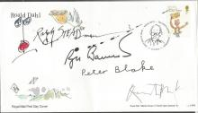 Peter Blake, Ralph Steadman, Quentin Blake, Roger Banister signed 2012 Roald Dahl single stamp FDC 0. Good condition. All signed items come with a Certificate of Authenticity and can be shipped worldwide.