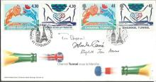 John Le Carre, Tom Stoppard, Elizabeth Howard signed 1994 Channel Tunnel FDC.  Good condition. All signed items come with a Certificate of Authenticity and can be shipped worldwide.