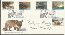 David Attenborough, Desmond Morris signed 1992 Wintertime FDC with Haresfield postmark.  Good condition. All signed items come with a Certificate of Authenticity and can be shipped worldwide.