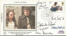 Authors multisigned FDC. Fredrick Forsythe, Ruth Rendall, John Le Carre, P D James, Jeffrey Archer, Stan Barstow signed 1980 Benham small silk single stamp FDC.  Good condition. All signed items come with a Certificate of Authenticity and can be shipped worldwide.