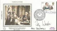 Authors multisigned FDC. Fay Weldon, Alan Sillitoe, Stan Barstow signed 1980 Benham small silk single stamp FDC.  Good condition. All signed items come with a Certificate of Authenticity and can be shipped worldwide.