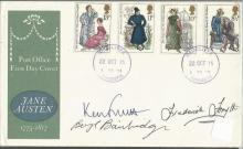Ken Follett, Beryl Bainbridge, Frederick Forsyth signed 1975 Jane Austen FDC.  Good condition. All signed items come with a Certificate of Authenticity and can be shipped worldwide.