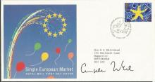 Angela Merkel signed 1992 Single European Market FDC with neat typed address. Good condition. All signed items come with a Certificate of Authenticity and can be shipped worldwide.