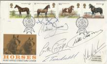 Horse Racing Multisigned John Buckingham, Richard Dunwoody, Lester Piggott, Willie Carson, Liam Treadwell and Mike Fitzgerald signed 1978 Horses FDC Royal Show postmark Kenilworth. Good condition. All signed items come with a Certificate of Authenticity and can be shipped worldwide.