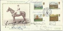 Horse Racing Multisigned Michael O?Brien, Peter Scudamore, Peter Walwym, Tony McCoy, Henry Cecil, Richard Dunwoody, Liam Treadwell, Mike Fitzgerald and Ginger McCain signed 1987 Covercraft Aintree Grand National FDC.  Good condition. All signed items come with a Certificate of Authenticity and can be shipped worldwide.