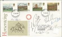Lester Piggott, Bob Champion, Nigel Triston Davies, Willie Carson and Michael Stoute signed 1979 Horseracing FDC with neat typed address. Good condition. All signed items come with a Certificate of Authenticity and can be shipped worldwide.