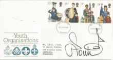 Ian Poulter gold star signed 1982 Youth Organisations FDC with neat typed address.  Good condition. All signed items come with a Certificate of Authenticity and can be shipped worldwide.