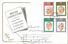 Ennio Morricone signed British Conductors FDC with a one line music score from one of his movies.  Good condition. All signed items come with a Certificate of Authenticity and can be shipped worldwide.