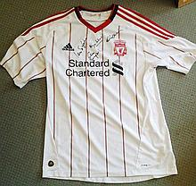 Liverpool football signed away shirt autographed