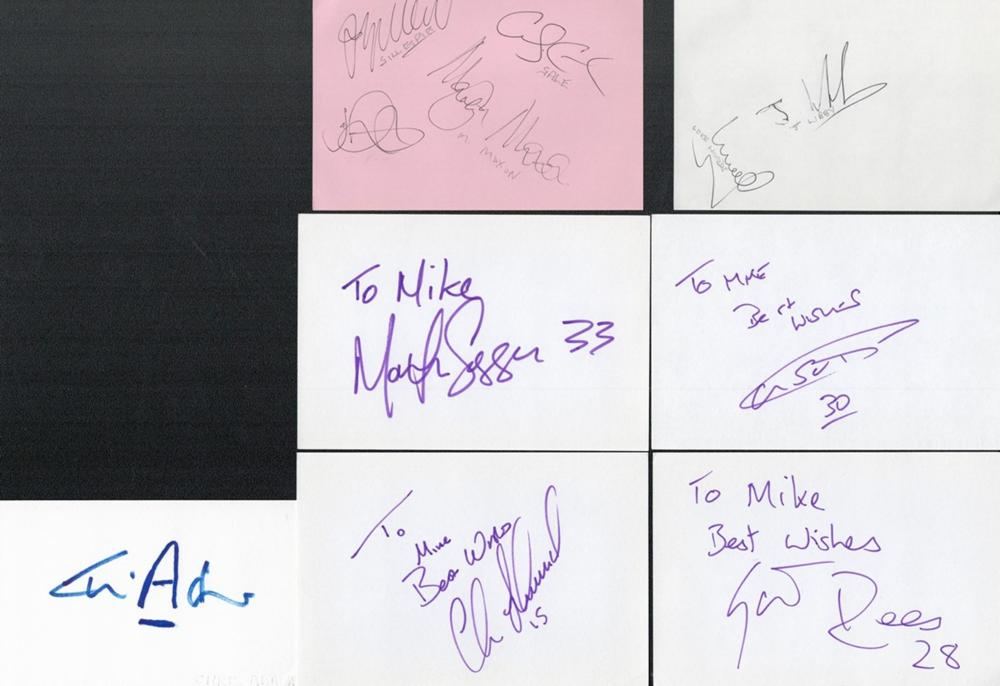 Cricket Collection of Signed White cards dated 2008 Signed by Gillespie, Maxon, Gale, Libby, Luke