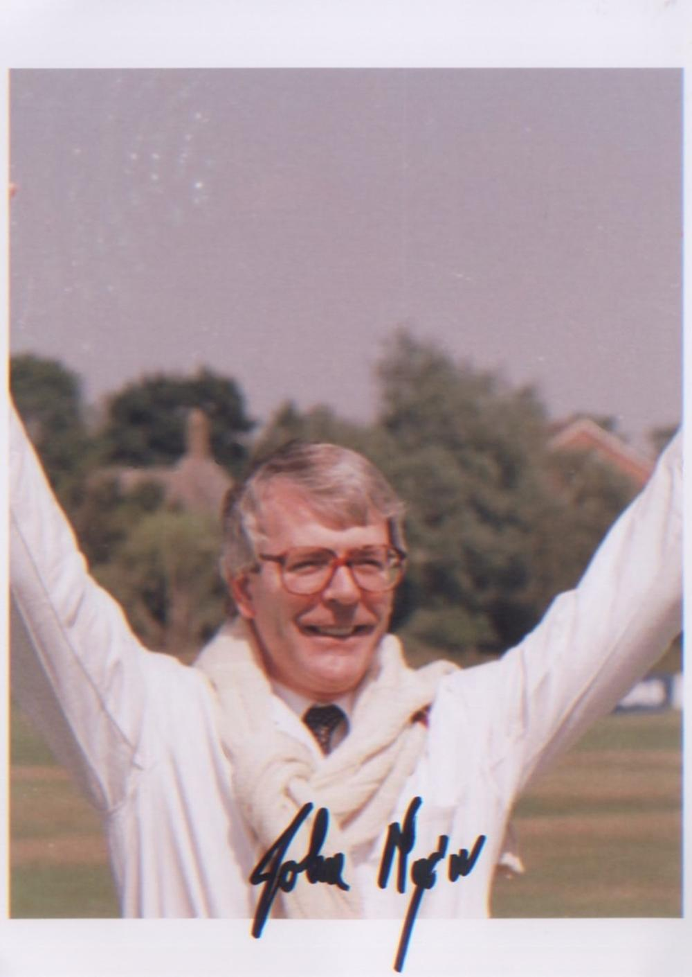 John Major signed Former UK Prime Minister 7x5 picture playing cricket. Good condition. All