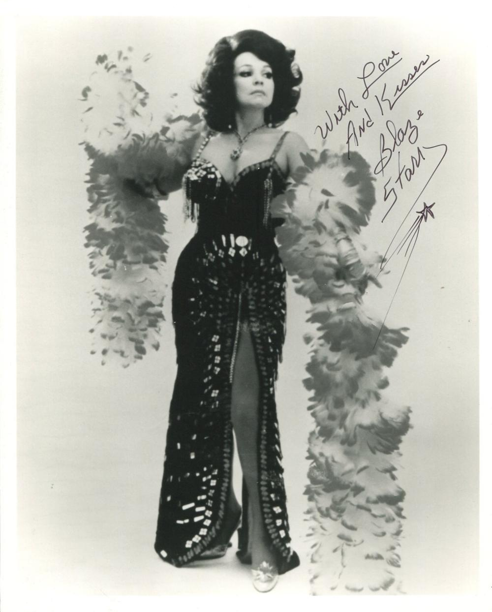 Burlesque queen and stripper Blaze Starr signed 8x10 photo, in the 1950's she was nicknamed 'The