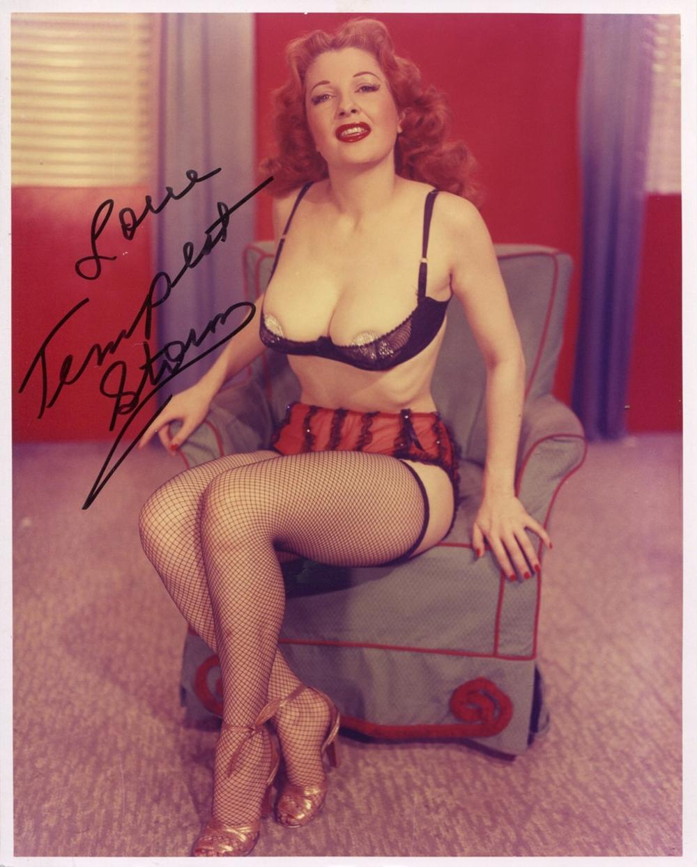 """Burlesque queen and stripper Tempest Storm signed 8x10 photo, also dubbed """"The Queen of Exotic"""