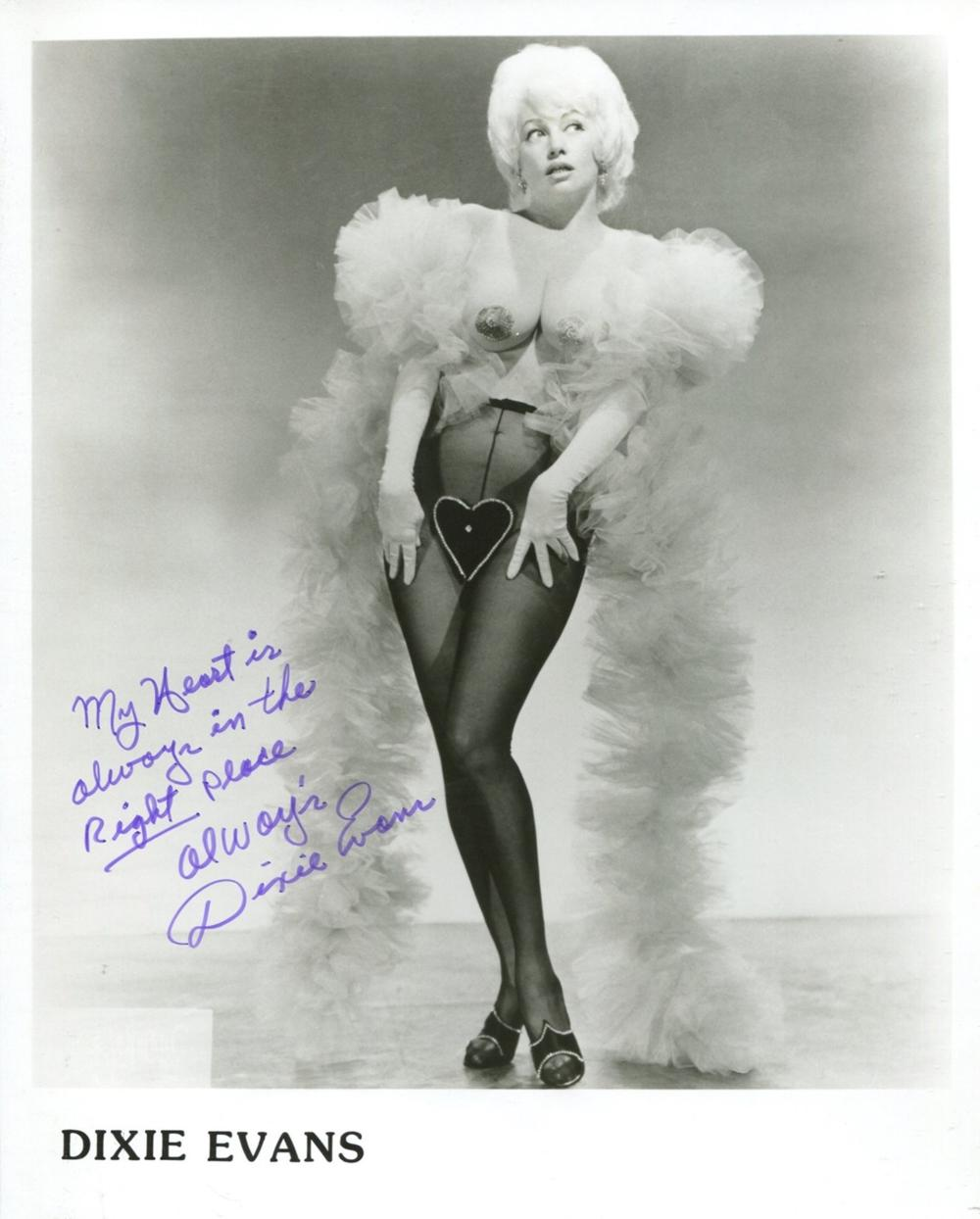 Burlesque queen and stripper Dixie Evans signed 8x10 photo Evans was famous for her Marilyn Monroe