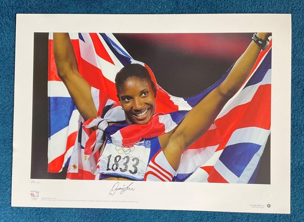 Denise Lewis signed 22x16 Team GB Olympic Gold Big Blue Tube print Olympic Games Sydney 2000Denise