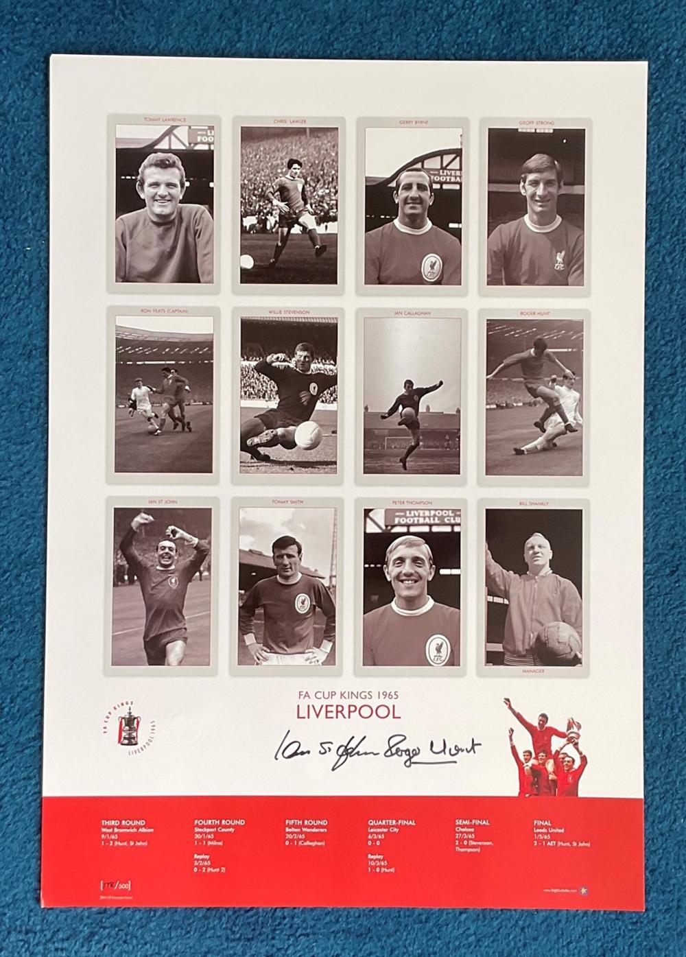Ian St John and Roger Hunt signed 22x16 FA Cup Kings 1965 Liverpool Big Blue Tube print. Good