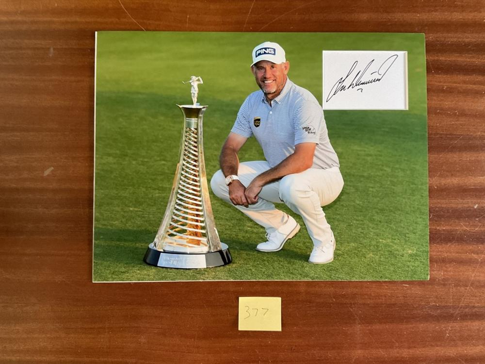 Golf, Lee Westwood signed and mounted colour presentation photograph, approx 16x12 Noted for his