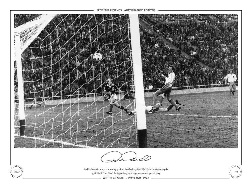 Autographed ARCHIE GEMMILL 16 x 12 Limited Edition - B/W, depicting Gemmill scoring his memorable