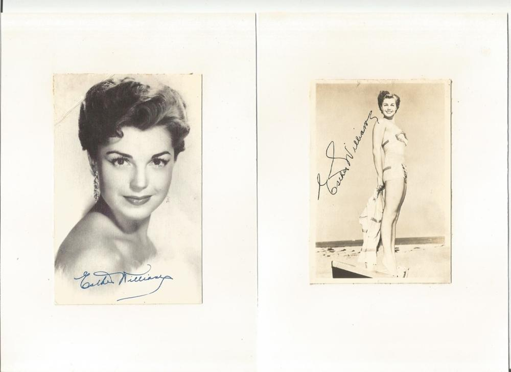 Esther Williams signed vintage 5x3 photos, stuck either side of board. Good condition. All