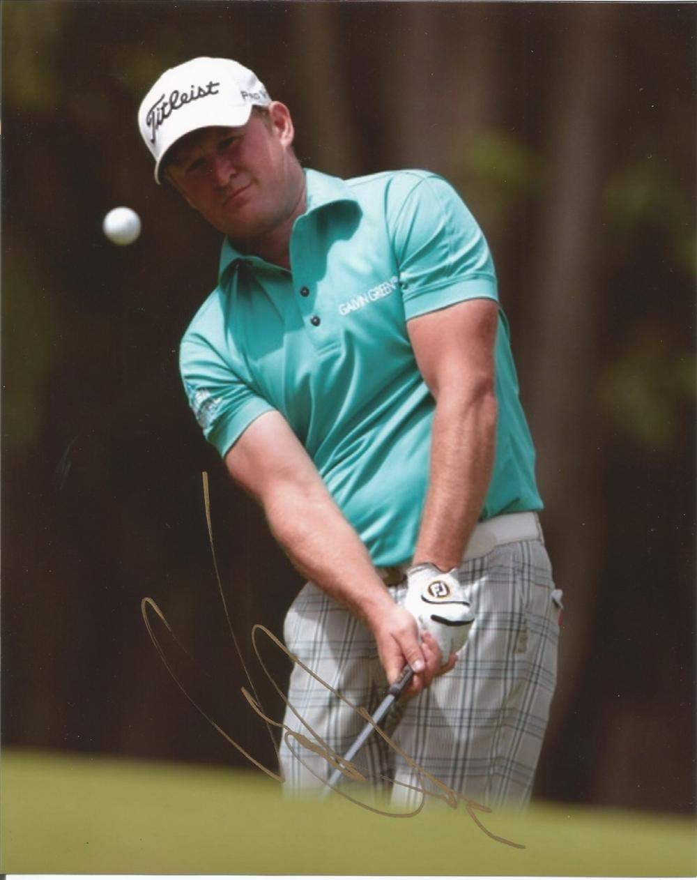 Jamie Donaldson signed 10x8 colour golf photo. Good condition. All autographs come with a