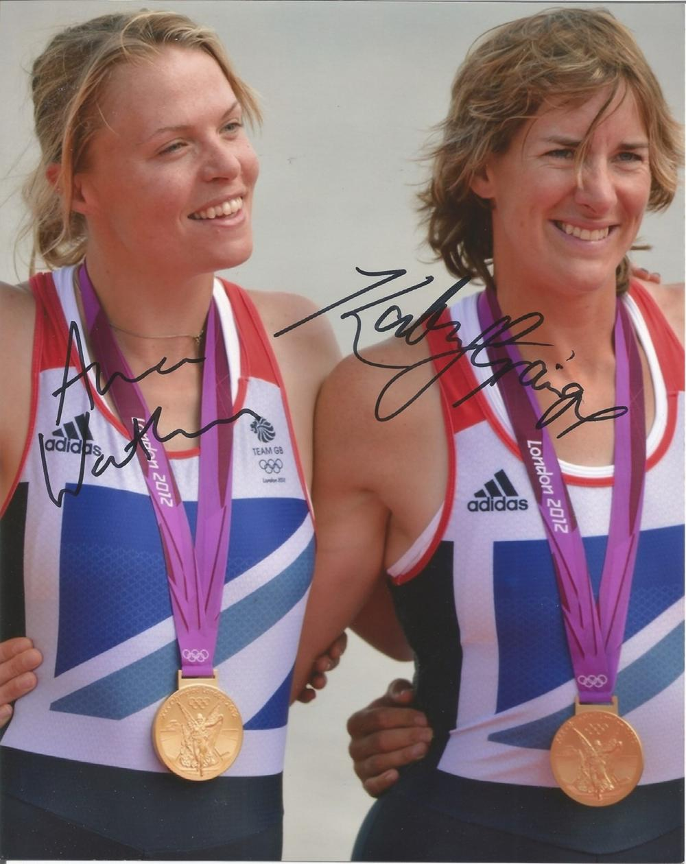 Katherine Granger and Anna Watkins signed 10x8 colour 2012 Olympics photo. Good condition. All