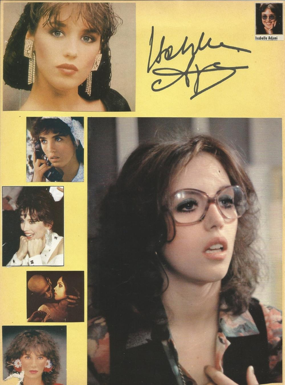 Isabelle Adjani signed card with montage of photos around it French actress and singer `. Good