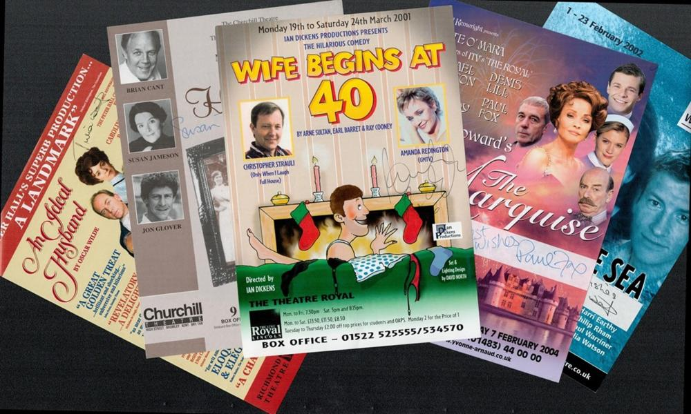 Collection of Theatre Signed Flyers Wife Begins At 40 flyers signed by Amanda Redington, The Deep