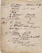1899 Cricketers signed antique lined page, 17
