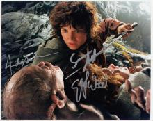 Elijah Wood and Andy Serkis signed 10 x 8 colour p