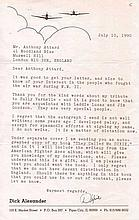 Richard Dixie Alexander Good content typed letter