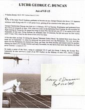 Colonel Glenn E. Duncan USAF Signature on card Ace